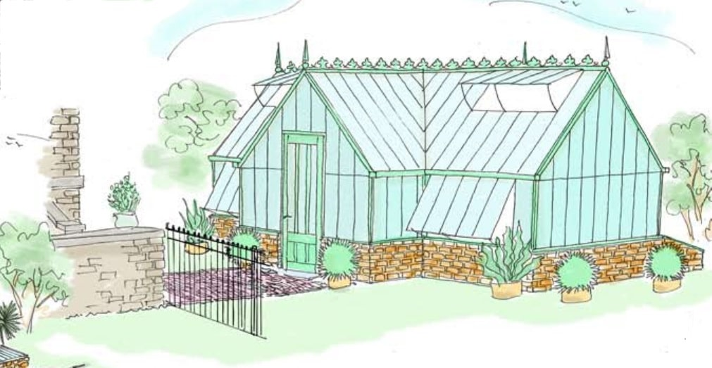 Bespoke Artistic Rendering of an Alitex greenhouse