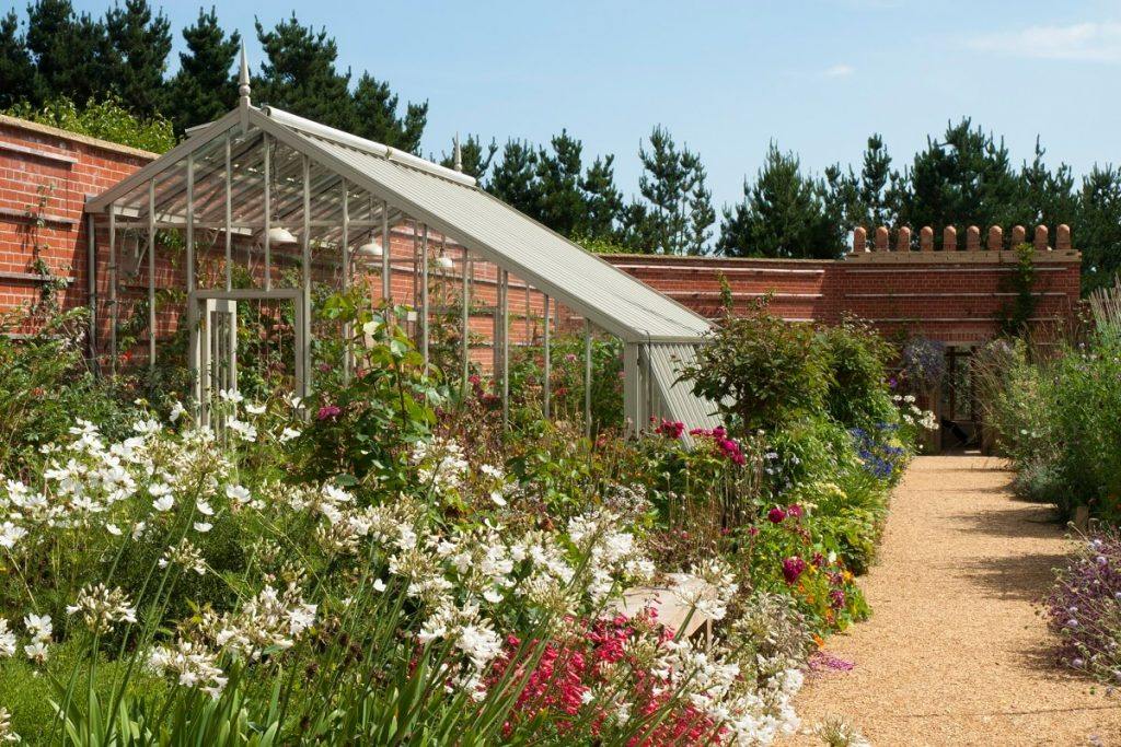 Fragrant garden with greenhouse