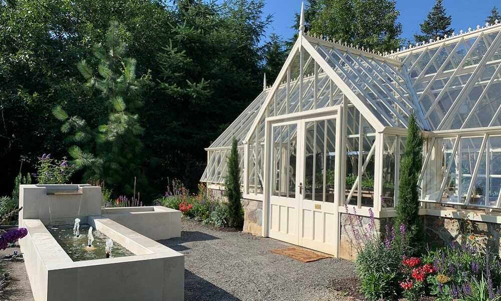 Outside a bespoke greenhouse - waterfall